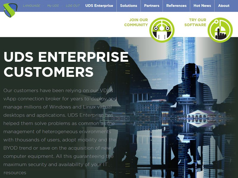 Remote Working section on UDS Enterprise website