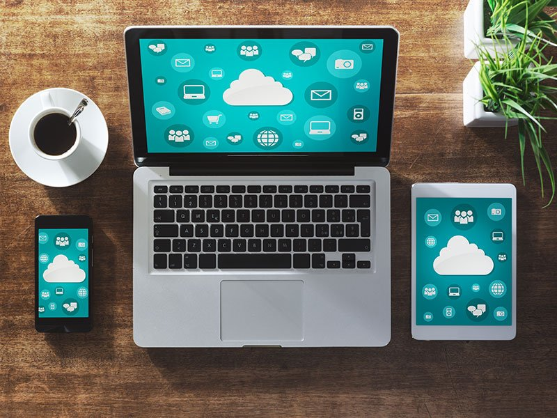 accessing cloud VDI via smartphone, tablet and laptop